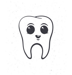 happy smiling healthy baby human tooth with eyes vector image
