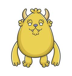 Happy yellow goblin cartoon monster vector