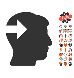 Head plug-in arrow icon with dating bonus vector
