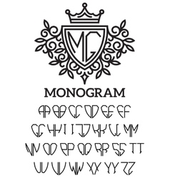 Heraldic template monogram with the bilateral vector