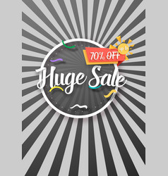 Huge sale poster with sunburs lines on background vector