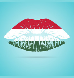 hungary flag lipstick on the lips isolated on a vector image