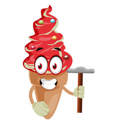 ice cream with hammer on white background vector image