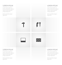 Icon work set of tool wall mallet and other vector