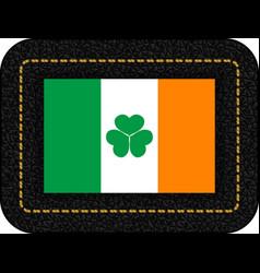 Ireland flag with shamrock icon on black leather vector
