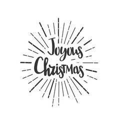joyous christmas wishes lettering in doodle style vector image