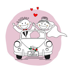 just married couple leaving for their honeymoon vector image