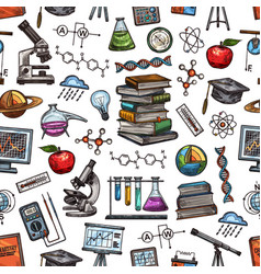 knowledge and science seamless pattern sketch vector image