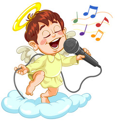Little baby angel with microphone vector