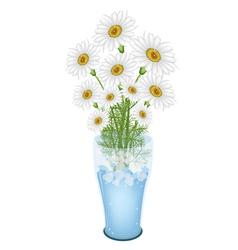 Lovely White Daisy Flowers in Glass Vase vector