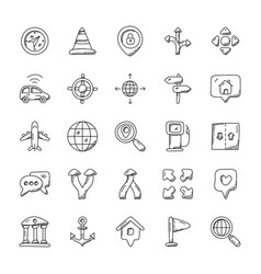 Maps and navigation icons pack vector