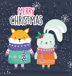 merry christmas celebration cute fox and rabbit vector image