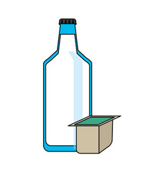 milk bottle and box icon image vector image