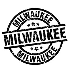 milwaukee black round grunge stamp vector image