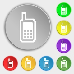 Mobile phone icon sign Symbol on eight flat vector image