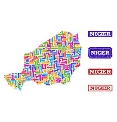 Mosaic map of niger and textured seals collage vector
