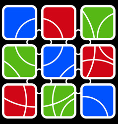 nine colored square contours with white circles vector image