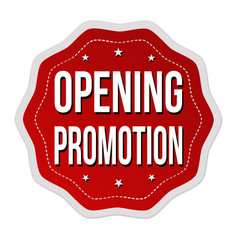 opening promotion label or sticker vector image