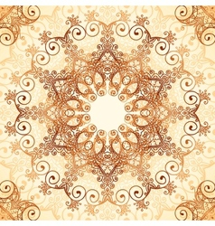 Ornate vintage circle pattern in mehndi style vector image