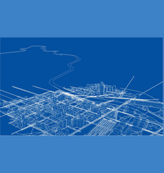 outline city concept wire-frame style vector image