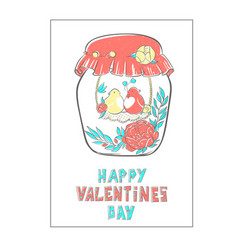 pattern birds in love in jar decorated with vector image