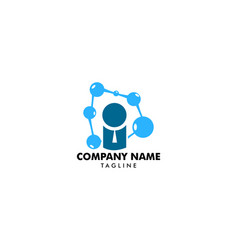 people logo with bubble connect science and vector image