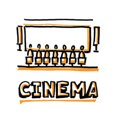 people sitting in cinema hall word cinema vector image