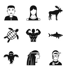 Personality icons set simple style vector