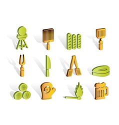 picnic and grill icons vector image