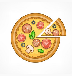 Pizza on white vector