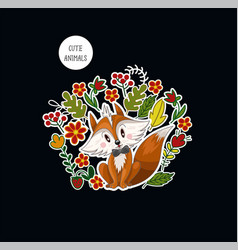 Postcard with cute baby fox and flowers for kids vector