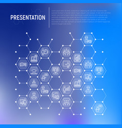 presentation concept in honeycombs vector image