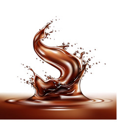 realistic chocolate splash and liquid swirl vector image