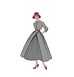 retro fashion dressed woman 1950s 1960s style vector image
