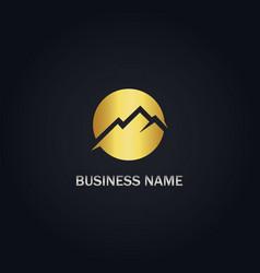 round mountain gold logo vector image