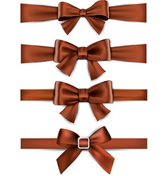 Satin brown ribbons Gift bows vector image
