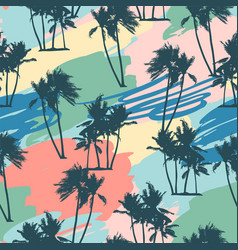 Seamless tropical pattern with palms and artistic vector