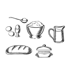 Set of baking ingredient icons vector