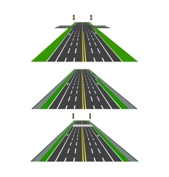Set of different sections of the road with vector image