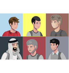 set of different young men portraits vector image