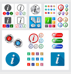 set of information icons and logos in speech vector image