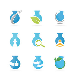 set of lab bottle logo combination bulb and flask vector image