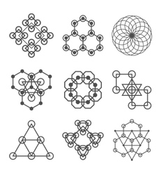 Set of line abstract geometric logotypes Set of vector