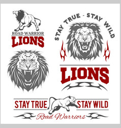 Set of lions themed sport logo vector