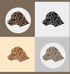 set of little beagle dog head vector image