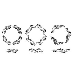 set silhouettes round laurel frames and vector image