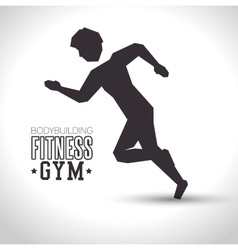 silhouette man training bodybuilding fitness gym vector image