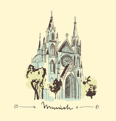 sketch of st paul church in munich hand drawn vector image