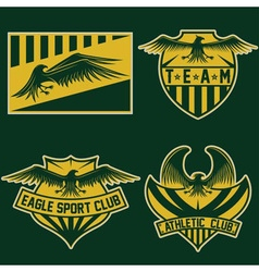 Sport team crests set with eagles design template vector
