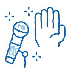 Stop karaoke doodle icon hand drawn vector